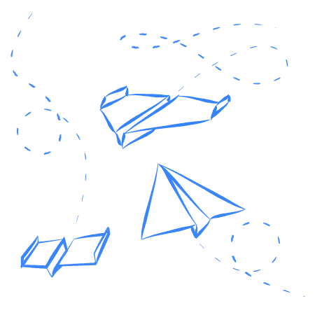 Whiteboard sketch of paper airplanes!