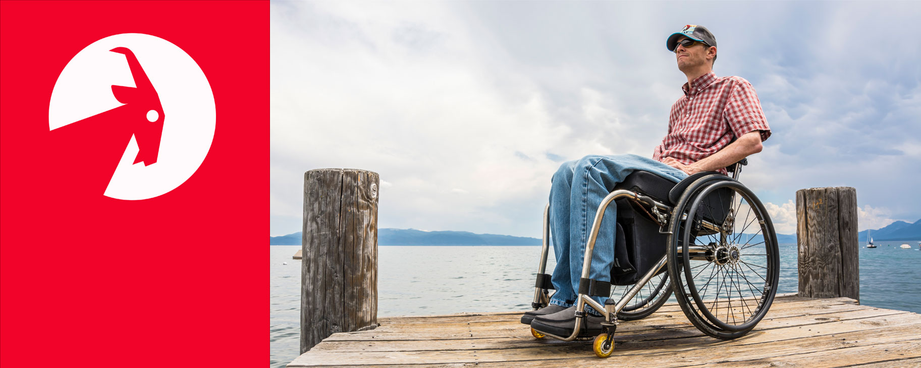 Billy Price in his wheelchair on a scenic jetty