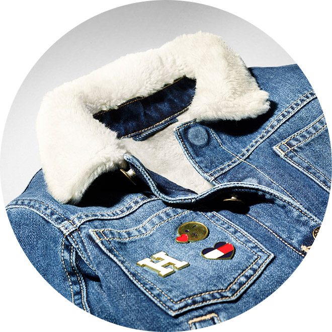 Closeup of jacket with magnetic buttons