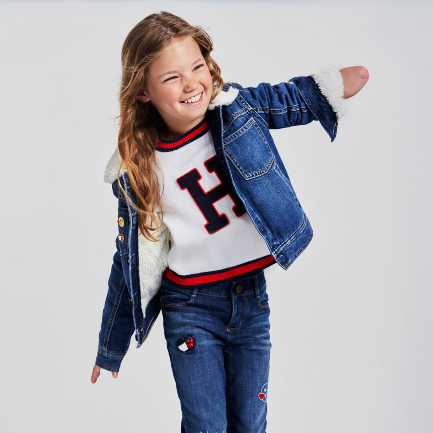 Girl wearing Tommy Adaptive Kids